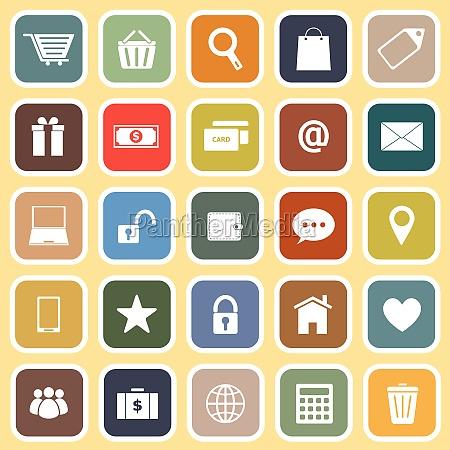 ecommerce flat icons on yellow background