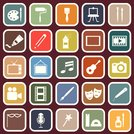 art flat icons on red background