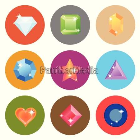 gem stone flat color icons on