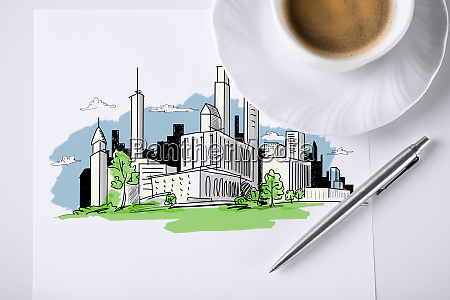 paper for note with city sketch