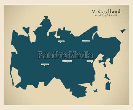 moderne landkarte midtjylland dk