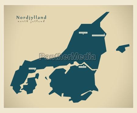 moderne landkarte nordjylland dk