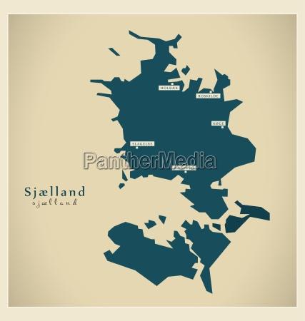 moderne landkarte sjaelland dk