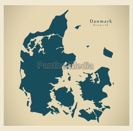 moderne, landkarte, -, dänemark - 12217848