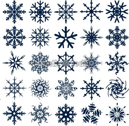 blue vector snowflake collection