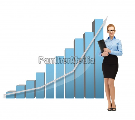 businesswoman with big 3d chart and