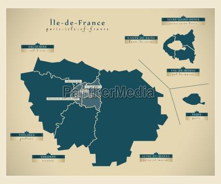 moderne landkarte ile de france