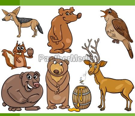 wild animals cartoon set illustration