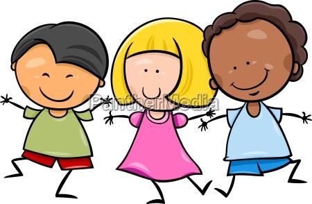 multicultural children cartoon illustration