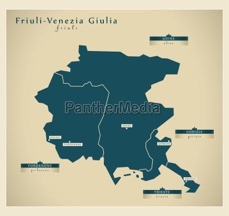 moderne landkarte friuli venezia giulia