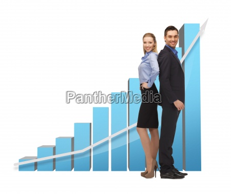 man and woman with 3d graph