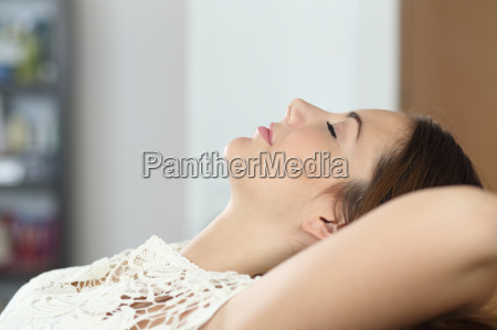 woman relaxing and sleeping on the