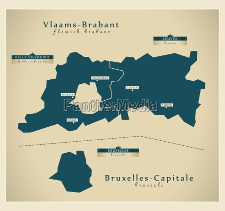 moderne landkarte vlaams brabant bruxelles