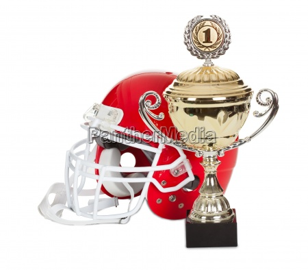 american football helmet and trophy