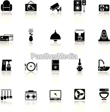 cafe and restaurant icons with reflect