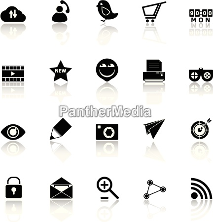 internet useful icons with reflect on