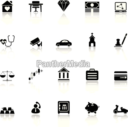 insurance related icons with reflect on