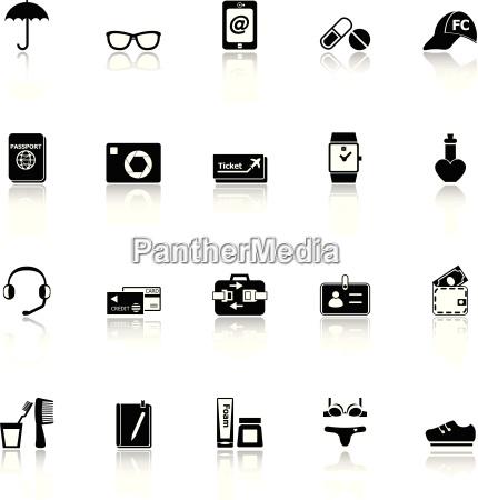 travel luggage preparation icons with reflect