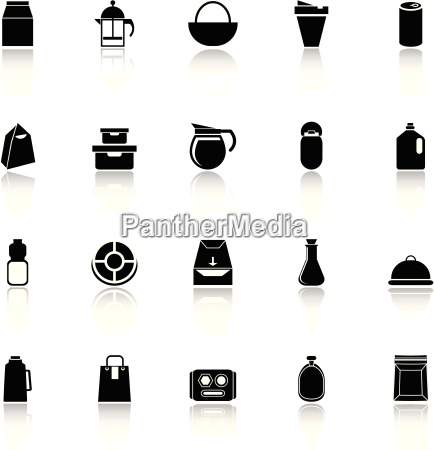 variety food package icons with reflect