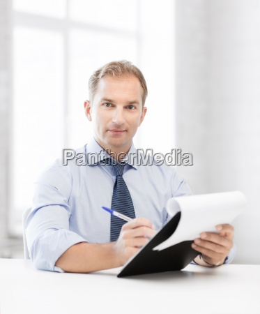 businessman taking employment inteview