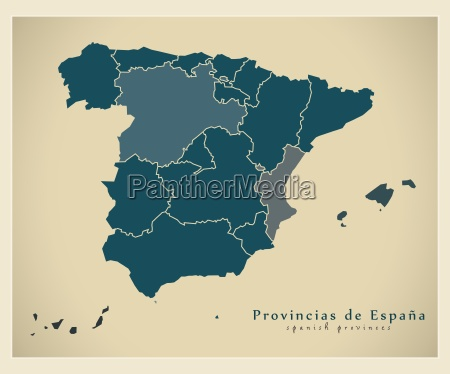 moderne landkarte spanien mit provinzen