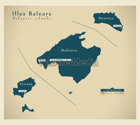 moderne landkarte illes balears es