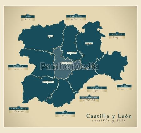 moderne landkarte castilla y leon