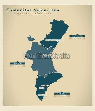 moderne landkarte comunitat valenciana es