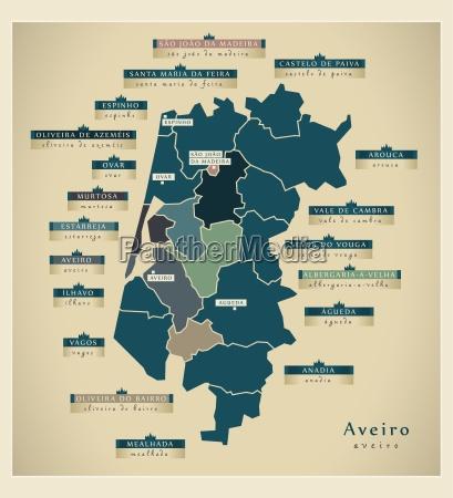 moderne landkarte aveiro pt