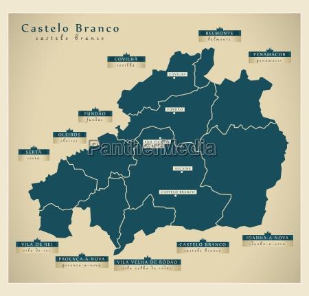 moderne landkarte castelo branco pt