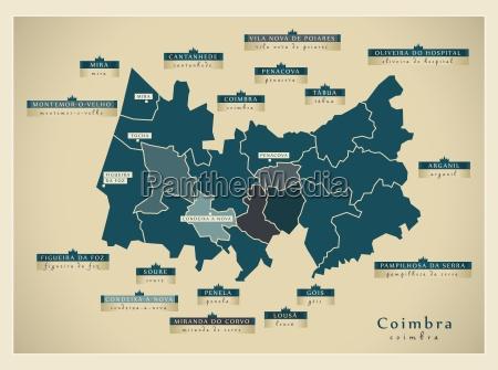 moderne landkarte coimbra pt