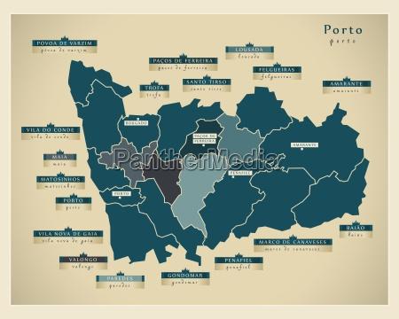 moderne landkarte porto pt