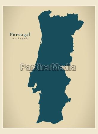 moderne landkarte portugal pt