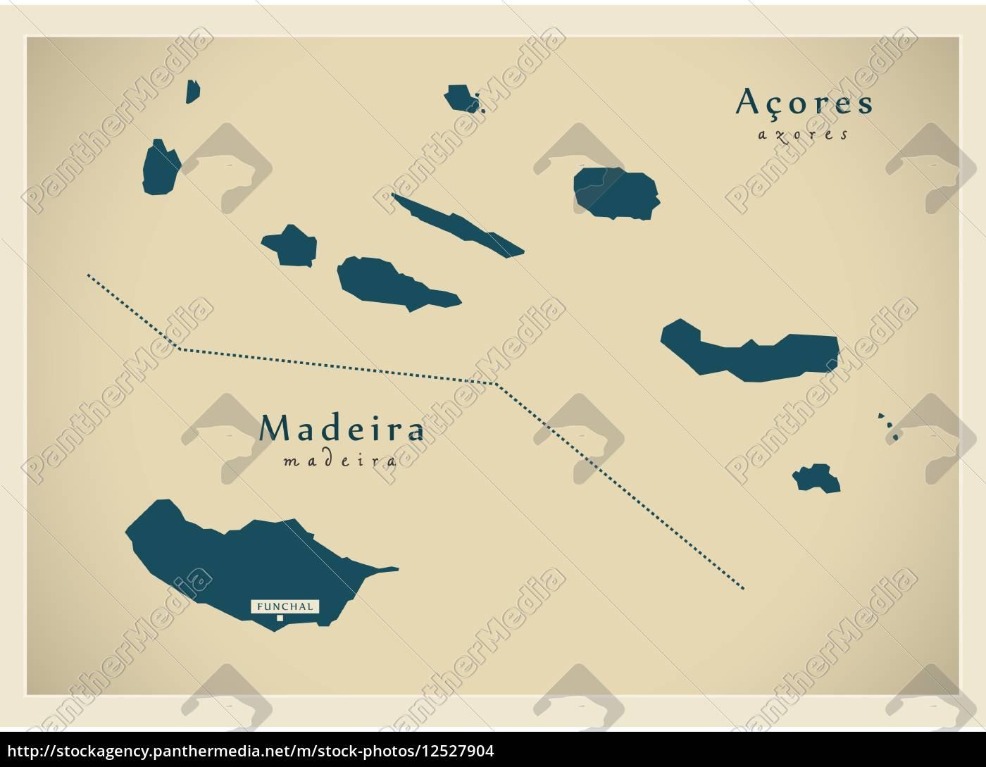moderne, landkarte, -, acores, &, madeira - 12527904