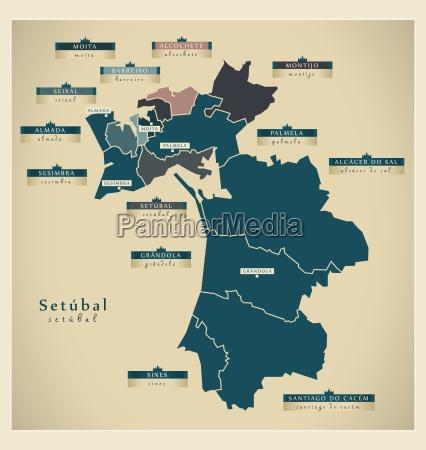 moderne landkarte setubal pt