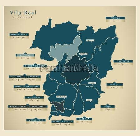 moderne landkarte vila real pt