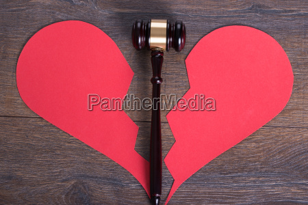 gavel and heart in divorce concept