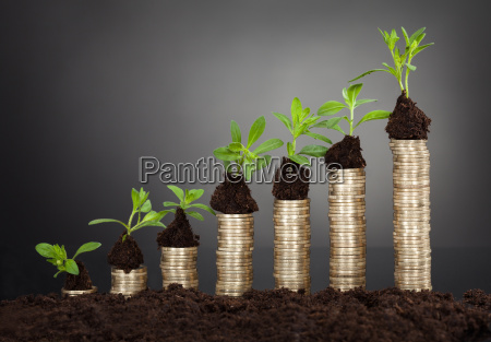 saplings on stack of coins representing