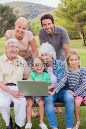 portrait of happy multi generation family