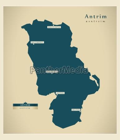 moderne landkarte antrim uk