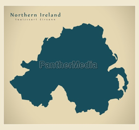 moderne landkarte nordirland uk