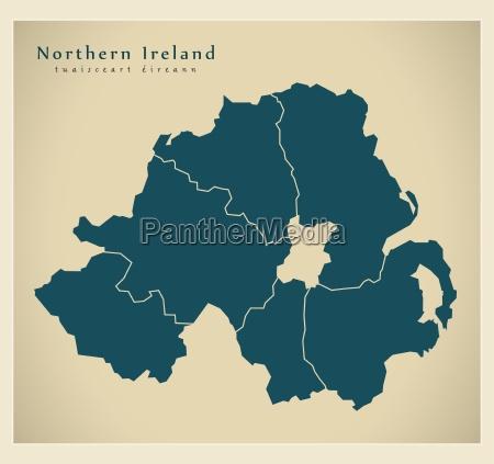 moderne landkarte nordirland mit regionen