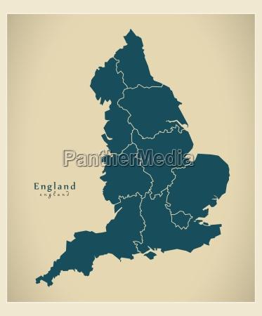 moderne landkarte england mit bundeslaendern