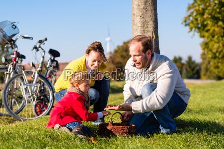 familie bei fahrradtour im park