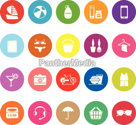 beach flat icons on white background