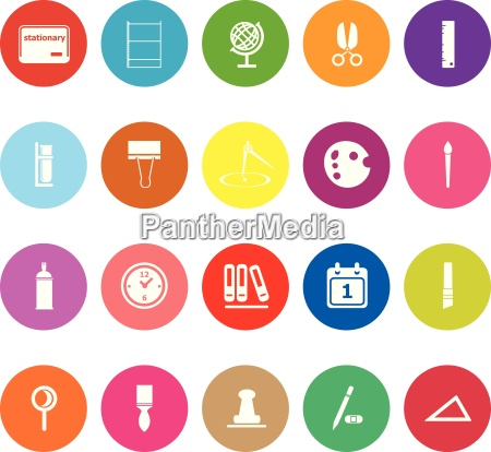 general stationary flat icons on white