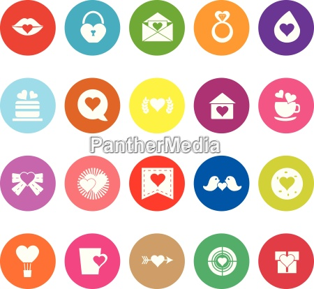 heart element flat icons on white