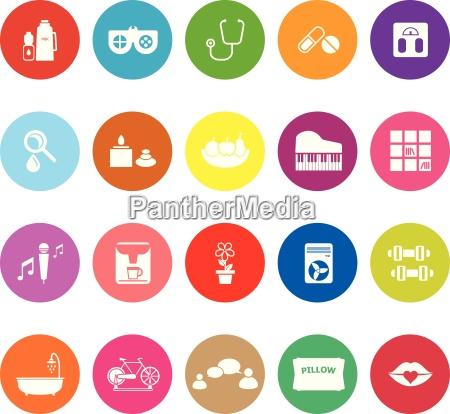 wellness flat icons on white background