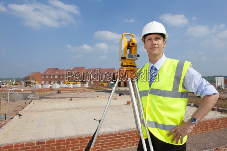 portrait of confident surveyor with hands
