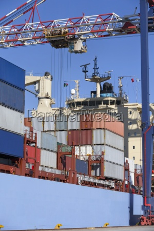 cargo containers on container ship moored